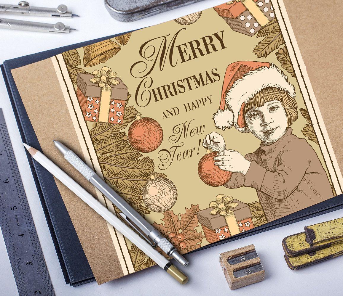 Merry Christmas Happy New Year greeting card tree boy