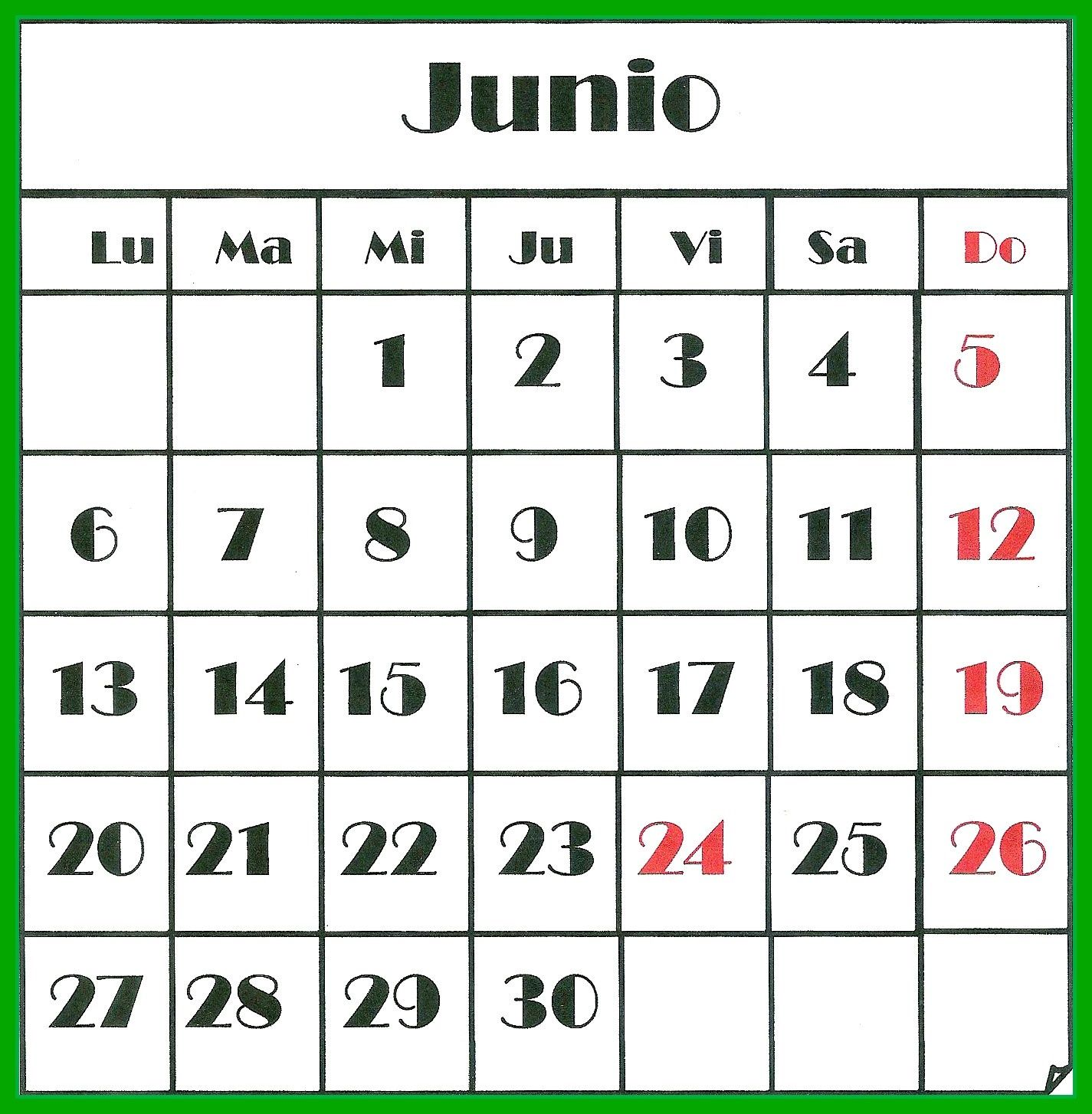 Junio 2016 mi almanaque 2016 games y scrabble for Calendario junio 2016 para imprimir