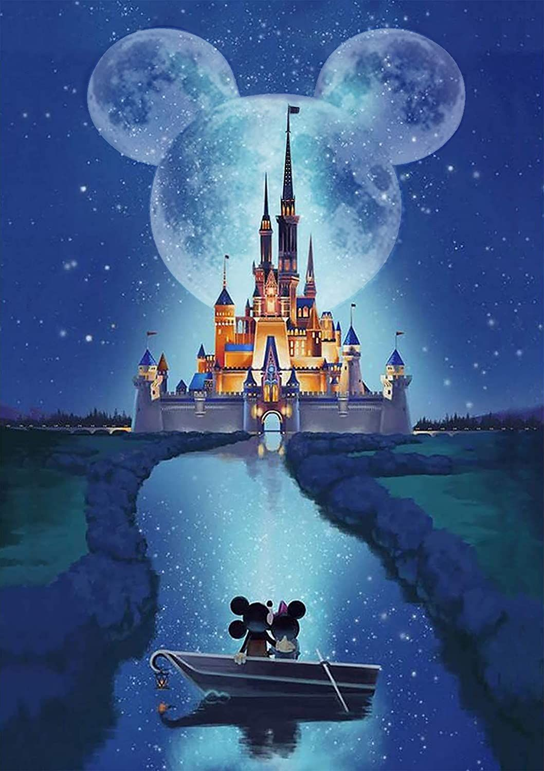 DIY 5d Diamond Painting Arts, Painting by Number Kits, Disney Castle, Suitable for Home Decoration.