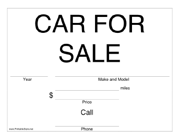 Printable Car For Sale Sign For Sale Sign Cars For Sale Printables