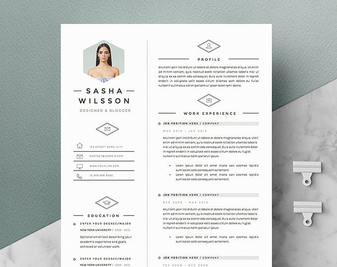 Page Resume Template  Cv Template Pack  Cover Letter For Word