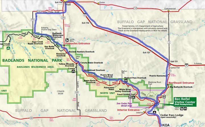 Badlands National Park Map Take the Badlands Loop Road to Wall