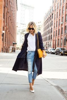 Long coats and distressed denim.