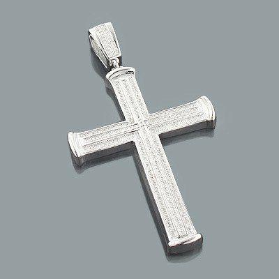 Sterling silver mens diamond cross pendant 064ct diamond cross sterling silver mens diamond cross pendant 064ct aloadofball Images