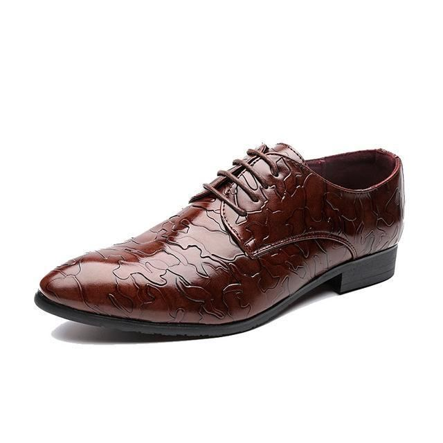 Personality Splice Leather Men Formal Banquet Shoes – Red / 6.5