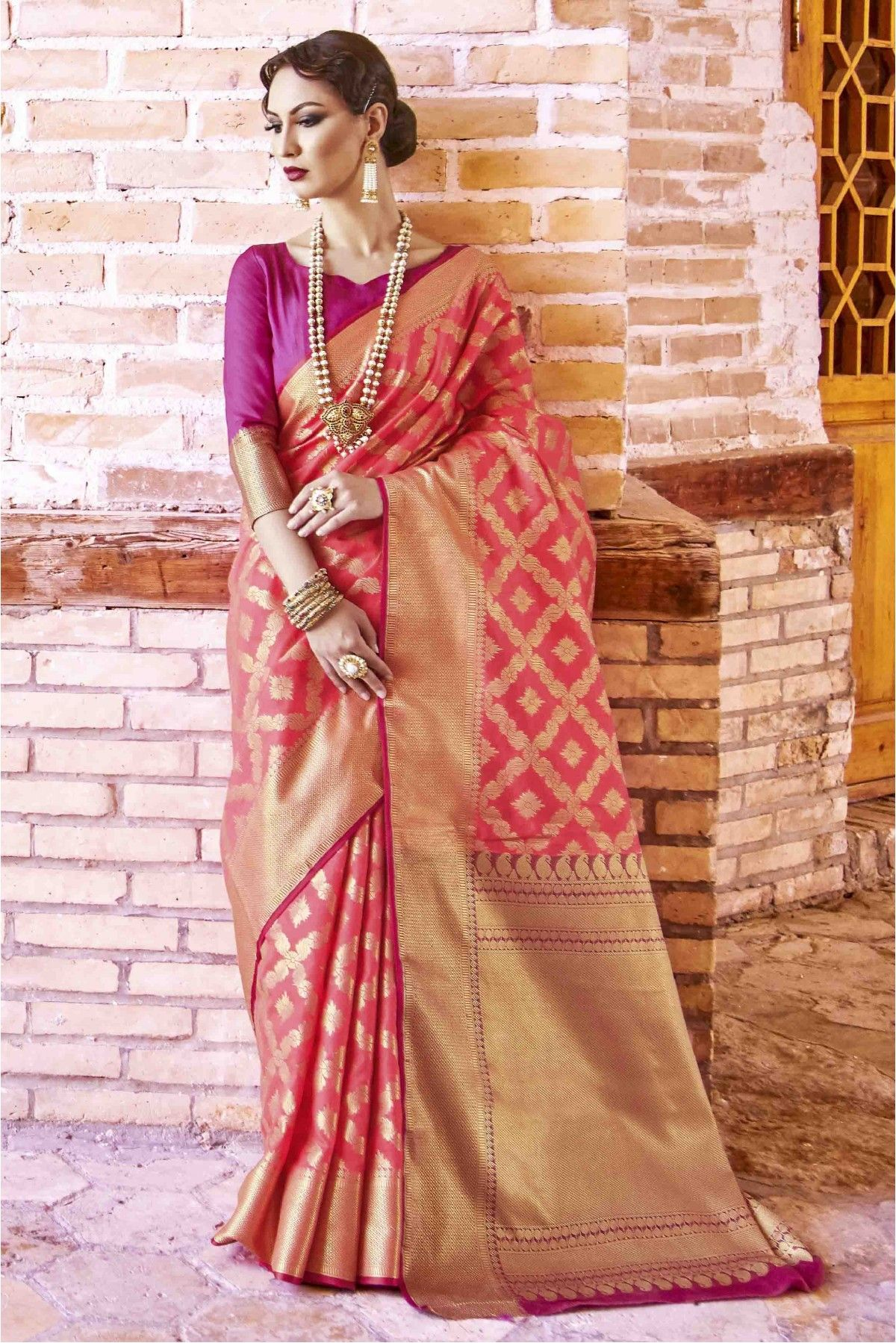 277c3e4a26 Buy Silk Designer Saree In Light Pink Colour for women @ ninecolours.com.  Worldwide Free Shipping Available!