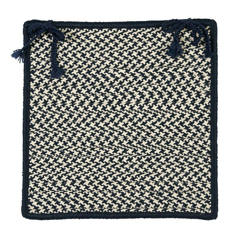 Colonial Mills Outdoor Houndstooth Tweed Chair Pad - 15 x 15 in. Navy - OT59A015X015S