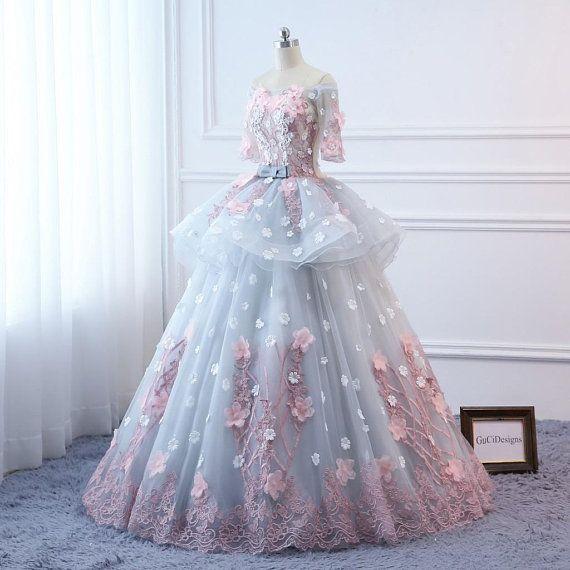 124458d7e4b Custom Women Pink flowers Prom Dress Ball Gown Long Quinceanera Dress  Floral Flowers Masquerade Prom