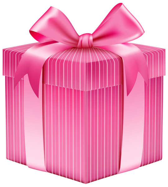 Pink Striped Gift Box PNG Clipart Picture Happy birthday