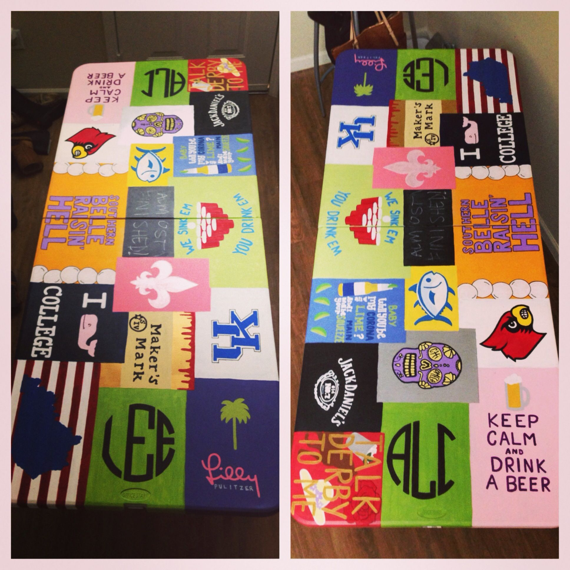 Pin by Ashley Luckett on College | Beer pong table painted, Beer pong table diy, Custom beer pong tables