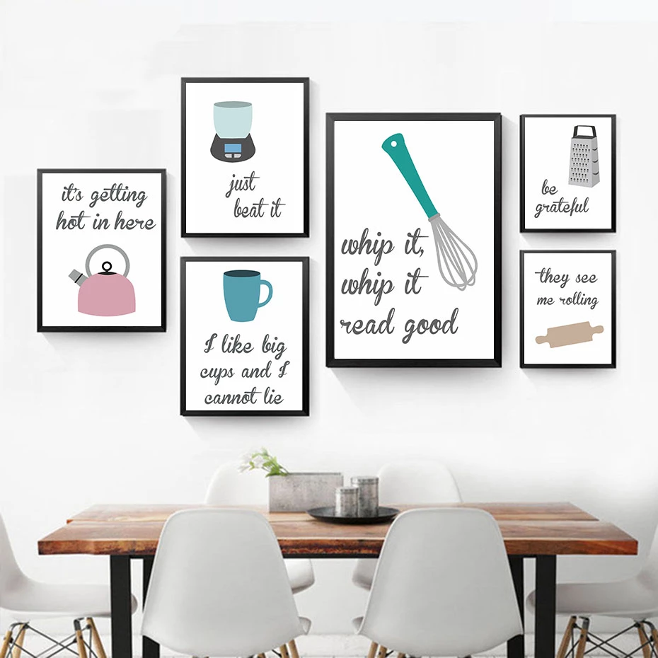 Kitchen Humour Wall Art Nordic Style Culinary Cooking Posters