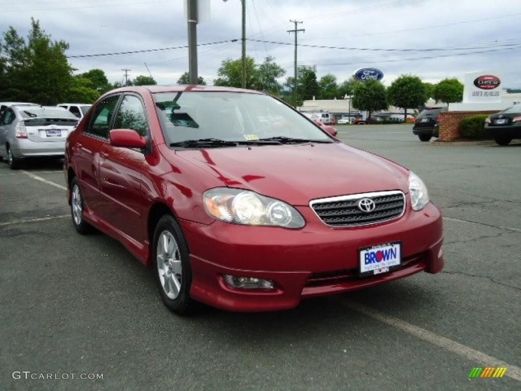 2006Toyota Corolla | 2006 Toyota Corolla S   Impulse Red Pearl Color / Dark  Charcoal .