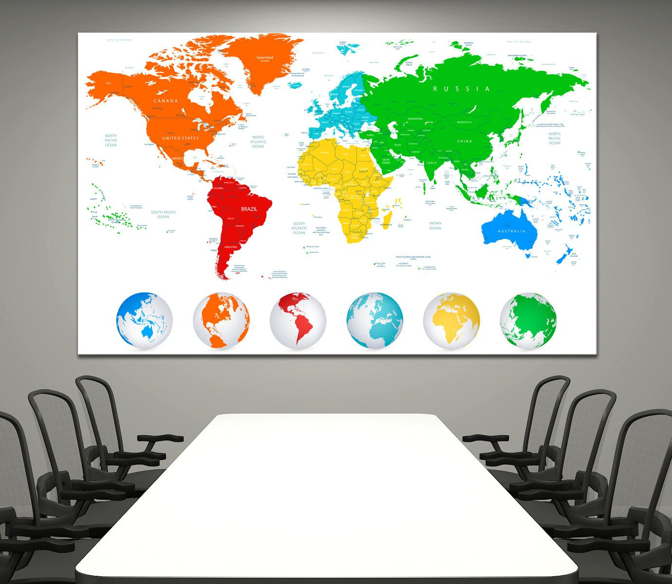 Large canvas print detailed world map with colorful continents