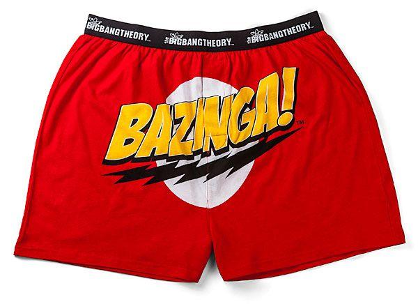 The Big Bang Theory Official Gift Mens Boxer Shorts Red Bazinga!