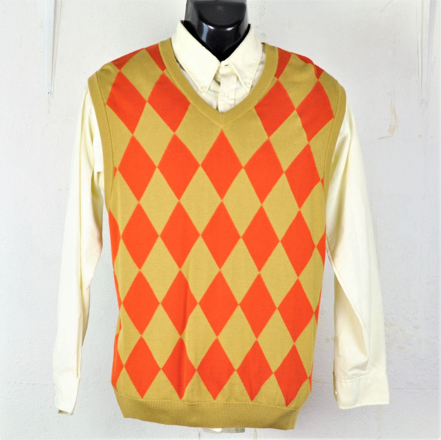 $28.95 Mens #Sweater Vest L #Argyle V-Neck Vintage 1990's #Preppy ...
