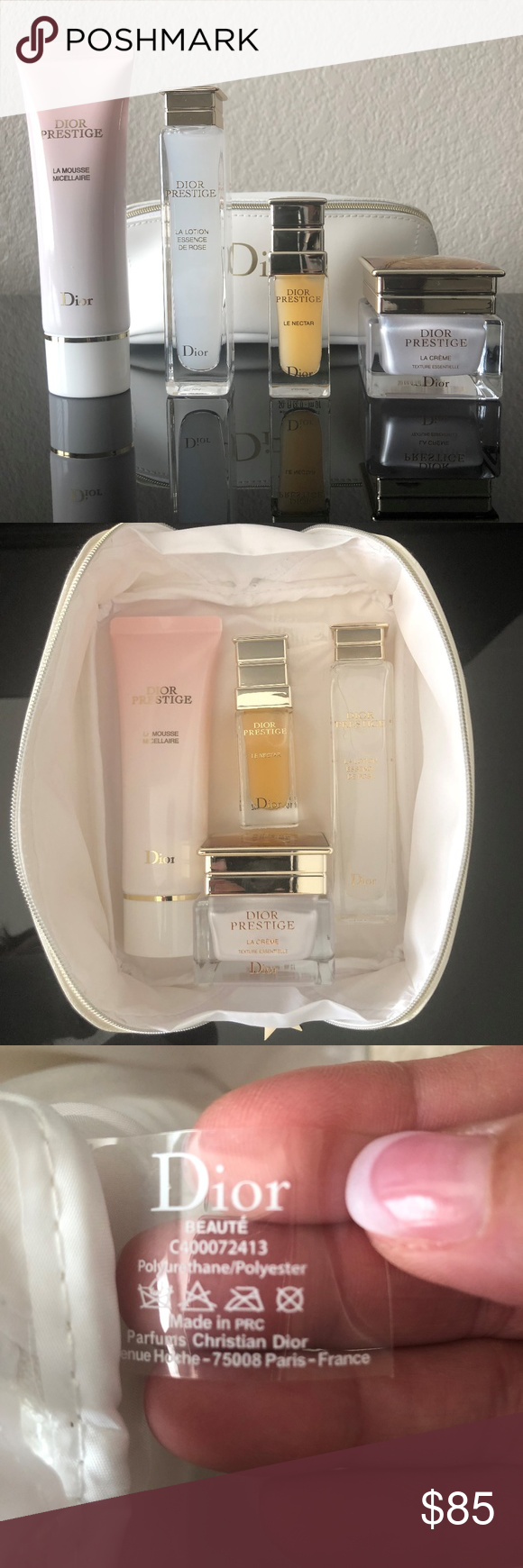 Prestige Deluxe Travel Set New Never Used Dior White Rectangle Pouch With Star Logo Zipper Closure Filled With Y Dior Makeup Star Logo Bottles And Jars