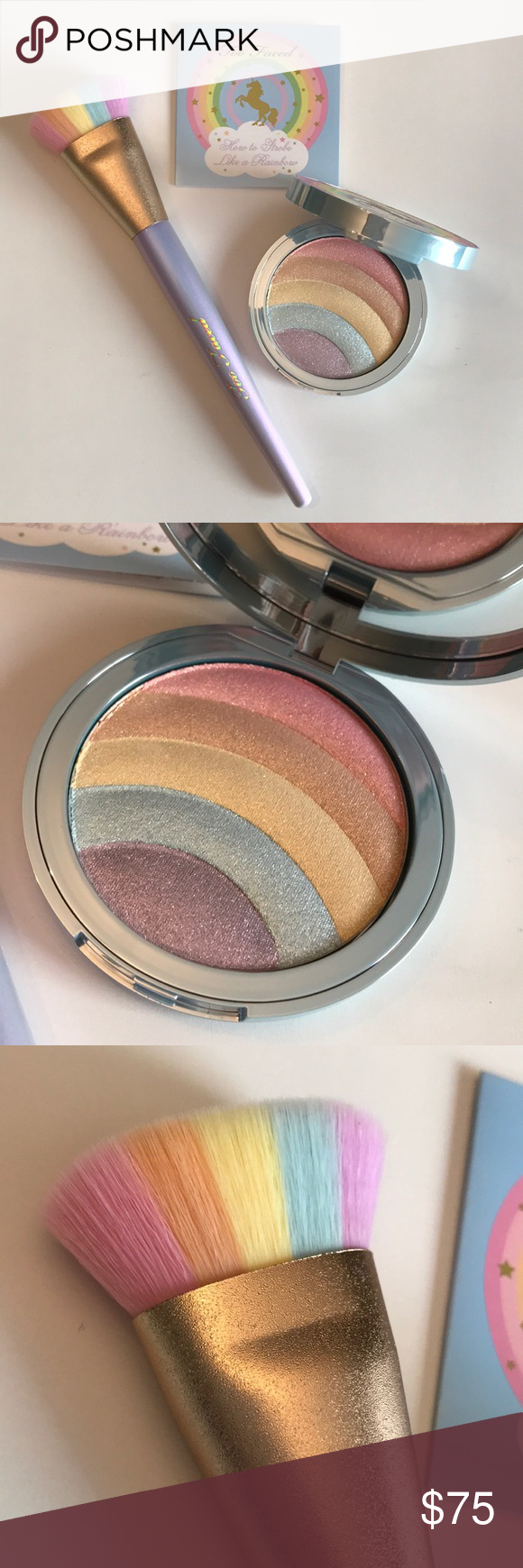 Too Faced Unicorn Rainbow Highlighter Brush Set NWT