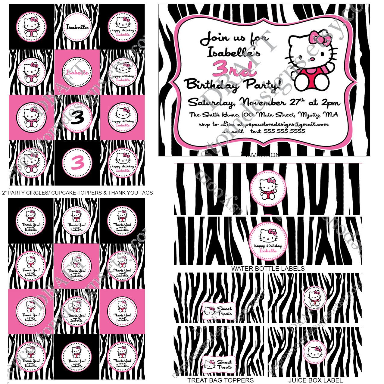 Diary of a wimpy kid collector s hello kitty folding chair adult - Diy Printable Personalized Hello Kitty Zebra Birthday Party Pack 13 Items Invitation