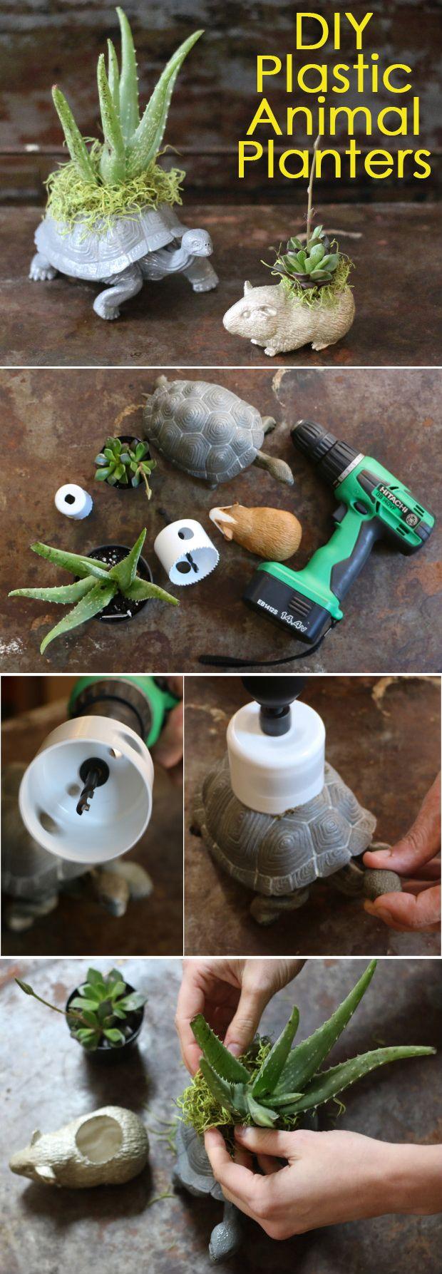 How cute! Transform plastic animals into planters!  #diy #crafts