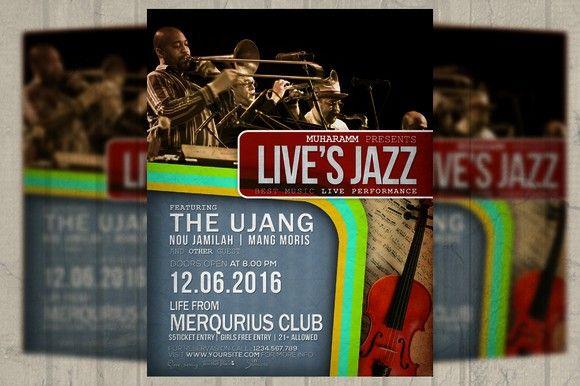 Jazz Retro Flyer  Poster Flyer Templates   Flyer