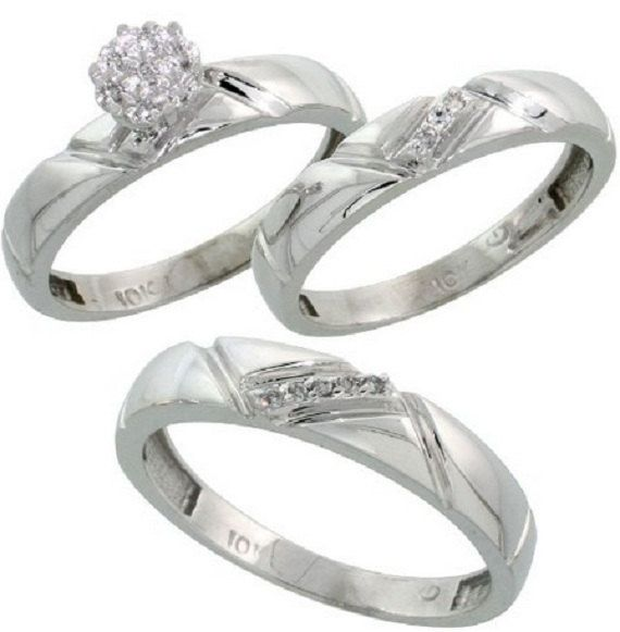 White Gold Diamond Trio Engagement Wedding Ring Set For Him And Her Mm 4 Wide Cttw Brilliant Cut Las Sizes 5 Mens 8 14
