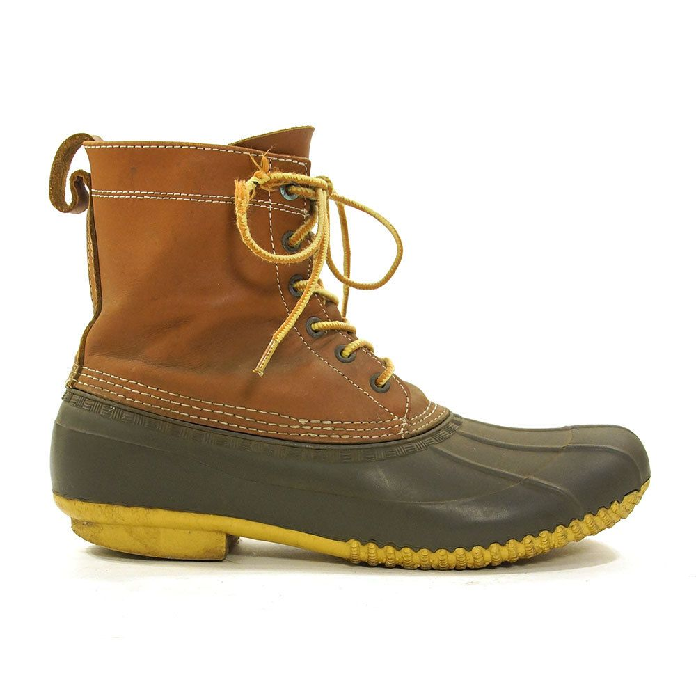 97f6e69aea0ca 90s Waterproof Duck Boots / Vintage 1990s Lands End Tall Lace Up ...