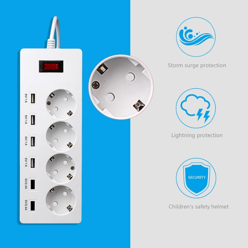 Europe 4 electrical outlet power usb bar with over current surge ...