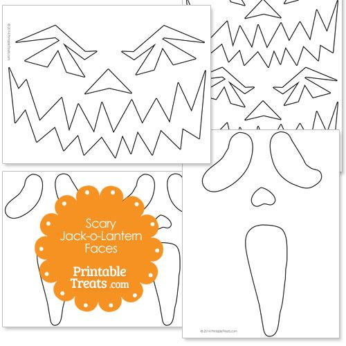 Printable Scary Jack o Lantern Faces from PrintableTreats.com