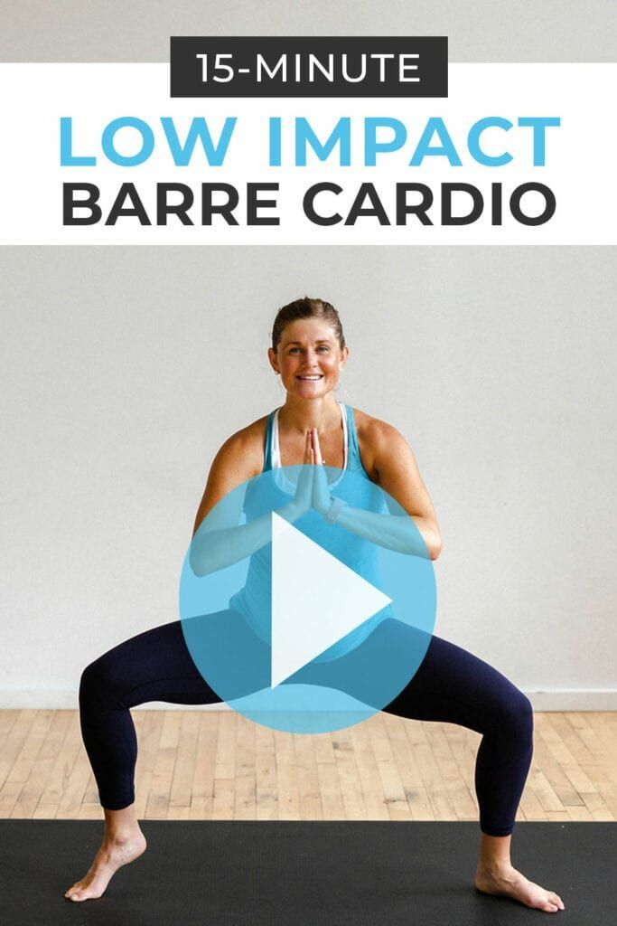 15-Minute Low Impact Cardio Barre Workout | Nourish Move Love #cardiobarre 10 low impact, barre-inspired exercises in a 15-Minute Cardio Barre Workout Video! Raise your heart-rate + boost metabolism with just your bodyweight in 15 minutes! Great for pregnancy, post-baby, bad knees, beginners, and low impact cross training for runners! #cardiobarre