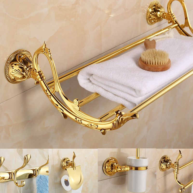 Antique Gold Leaf Solid Brass Bathroom Hardware Sets Europe Polished ...