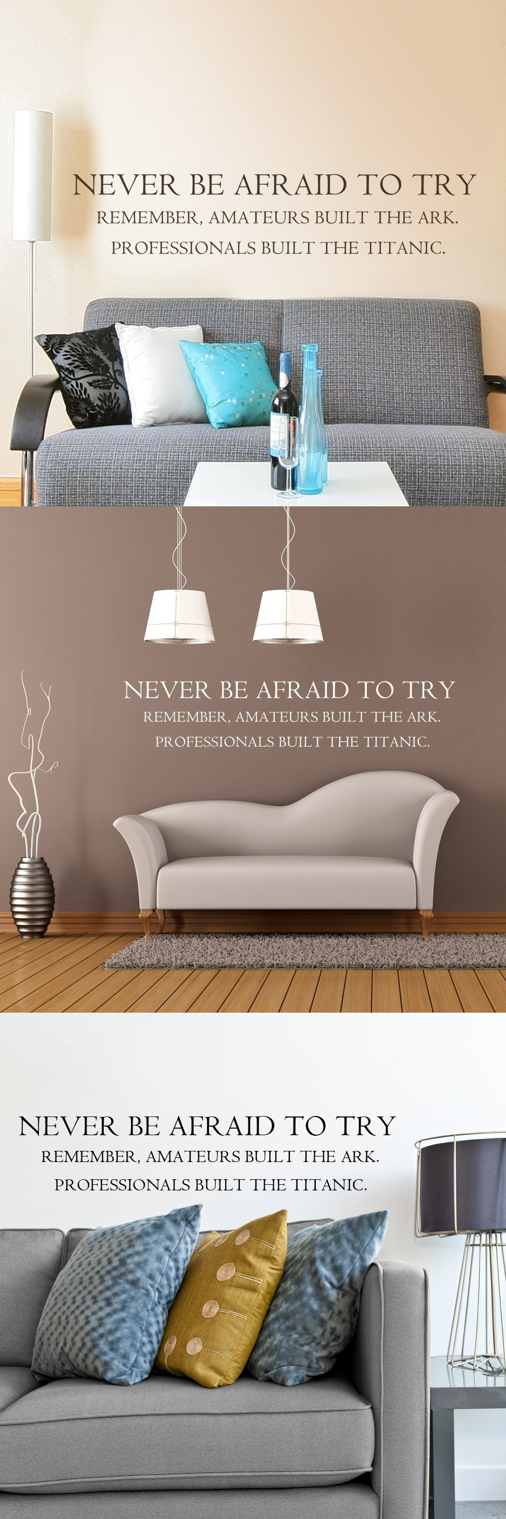 Professionals Built Titanic Office Home Decor Inspirational Wall Decal Art & Never Be Afraid To Try. Professionals Built Titanic Office Home ...