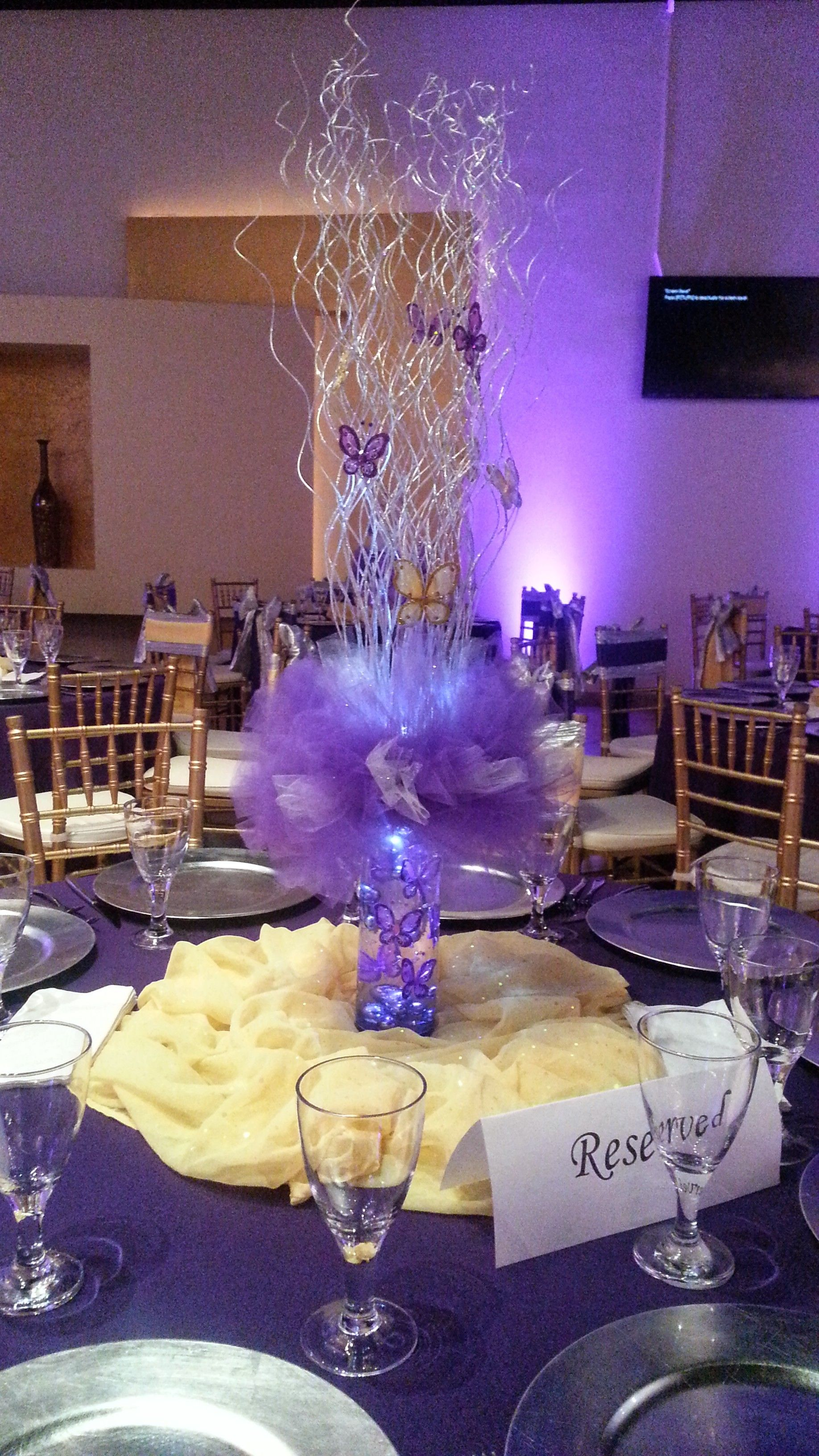 Niece s quinceanera small centerpiece using purple tulle