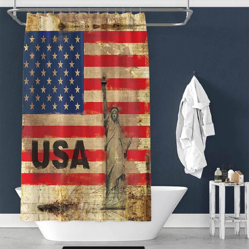 Black White American Flag Shower Curtain By Urban Outfitters