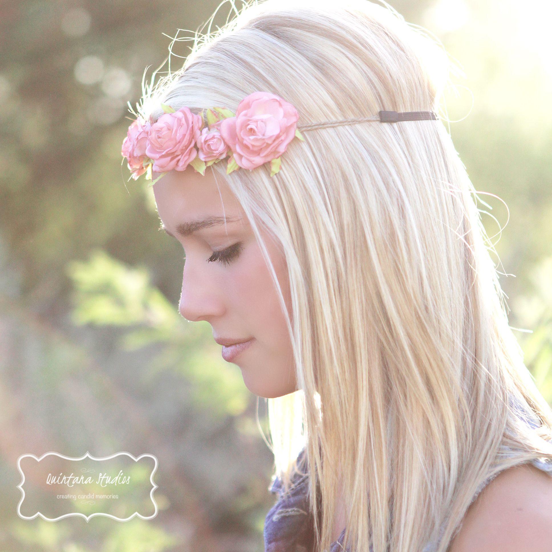phoenix senior, flower crown, sunlit field