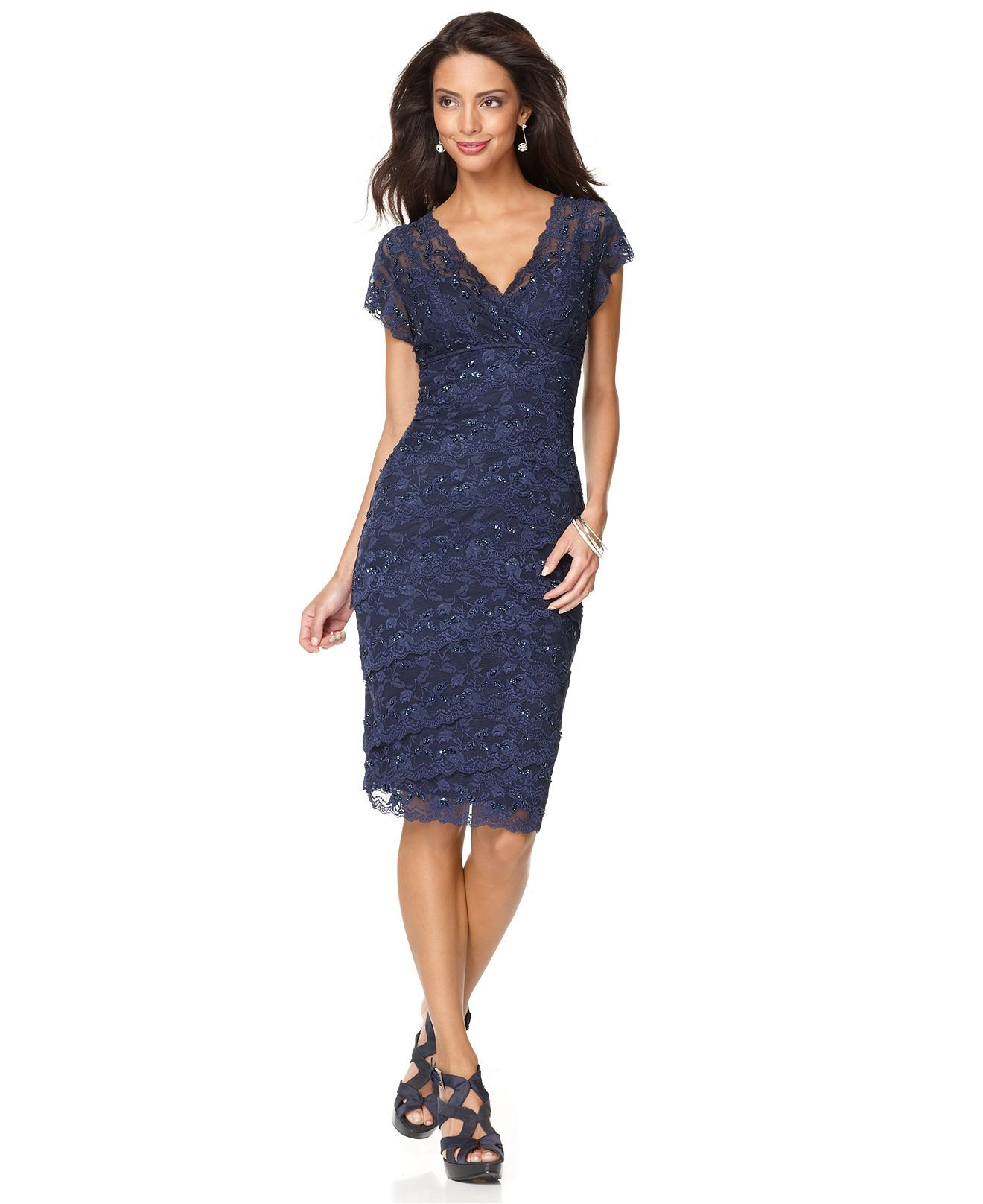 maybe this mom?  Cocktail dress lace, Cap sleeve lace dress, Lace