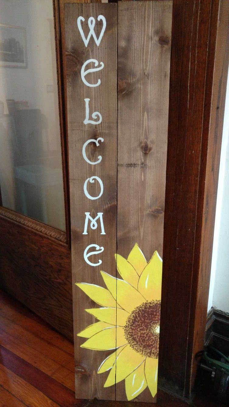 Diy Sunflower Front Porch Welcome Sign Porch Welcome Sign Small Front Porches Decorating Ideas Primitive Homes