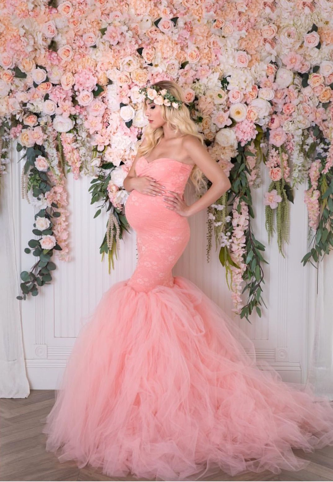 60c3b51e87 Lace Mermaid Gown with Tulle Bottom
