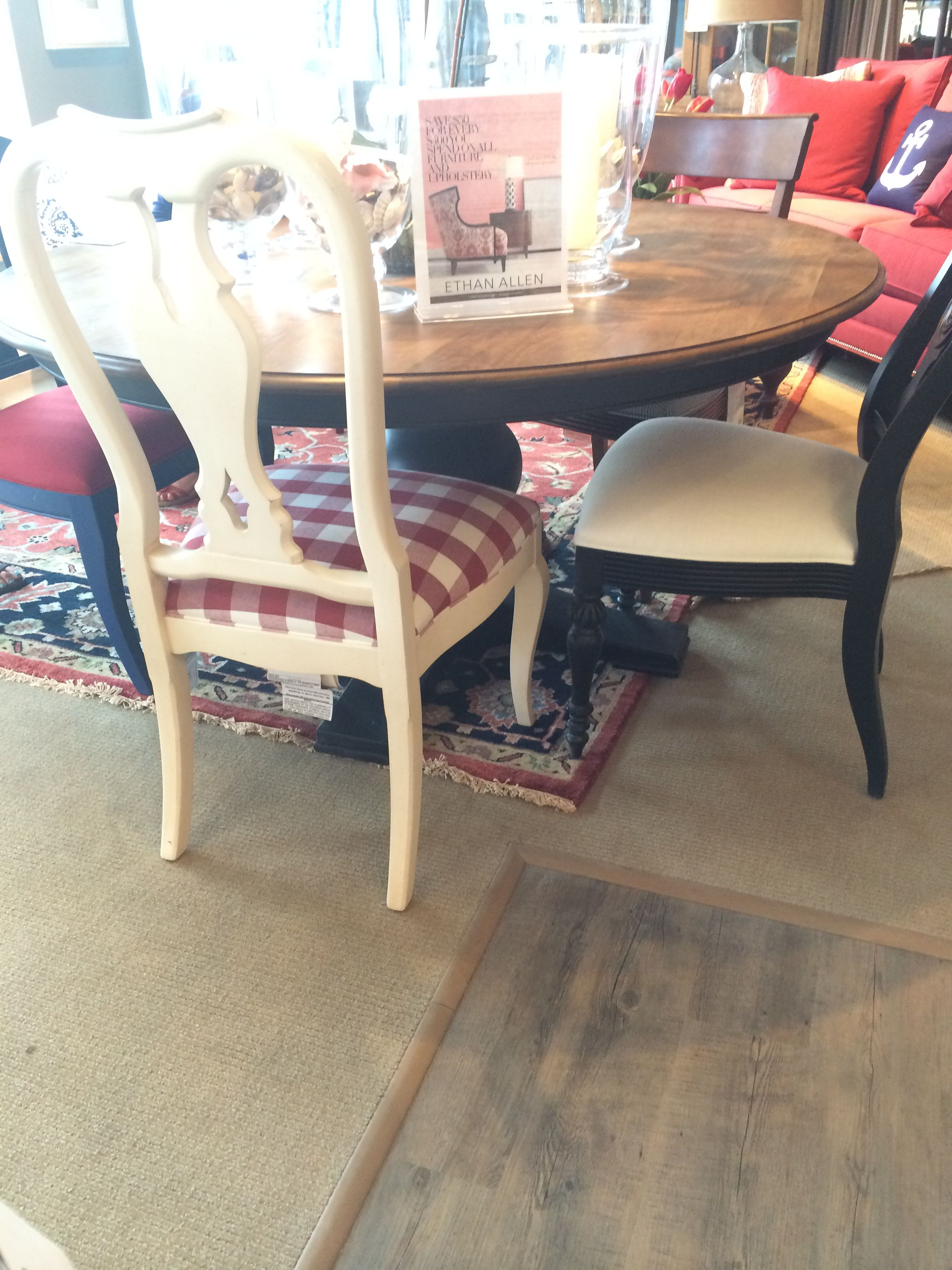 Dining table ethan allen in painted in grey with navy chairs