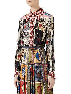 0b640930a Gucci - Tiger Patchwork Silk Shirt | Closet | Silk, Shirts, Gucci