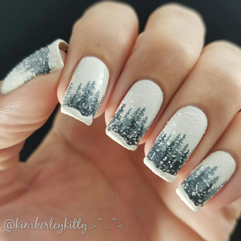 3d Snowy Forest Nails With Images Wzory Zelowe Paznokcie