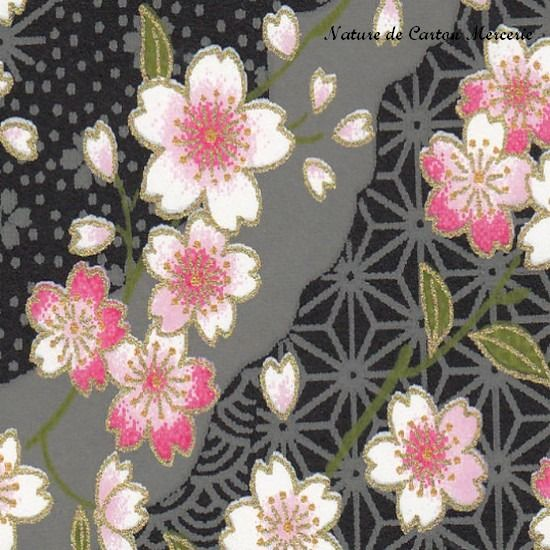 papier japonais washi fleurs blanches cerisiers sur fond noir s rigraphi motifs japonais. Black Bedroom Furniture Sets. Home Design Ideas