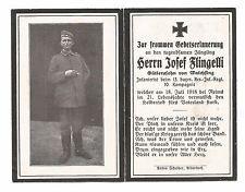 WWI GERMAN DEATH CARD - PTE. JOSEF FLINGELLI - 13TH BAVARIAN INF (GDC-2)