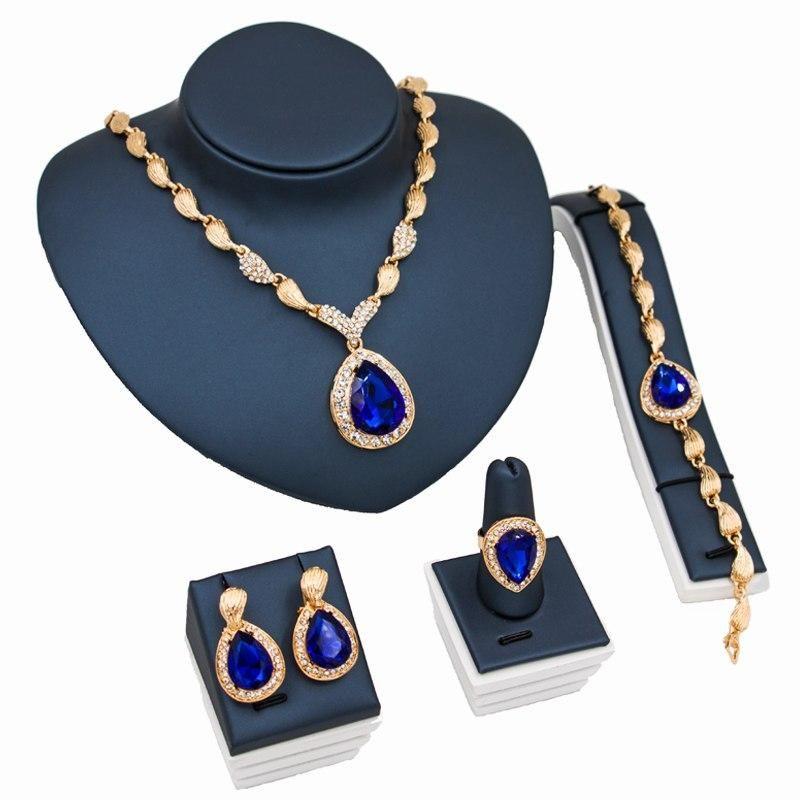 Noble Mariage Bijoux Ensembles Bleu Rouge Zircone cubique Lady Boucle d/'oreille Colliers
