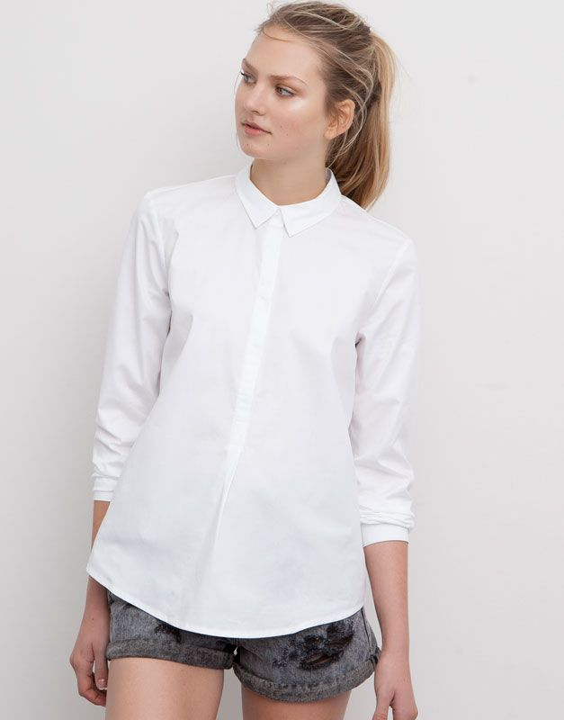 Basic Mao Collar Shirt New Products New Products Woman Pull Bear Indonesia