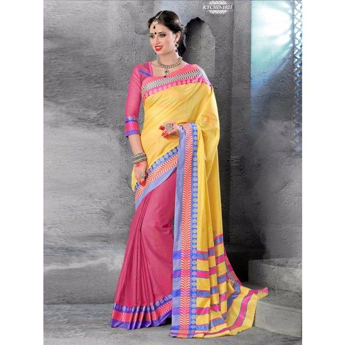 Chennai Express Cotton Yellow and Pink Designer Sarees ...