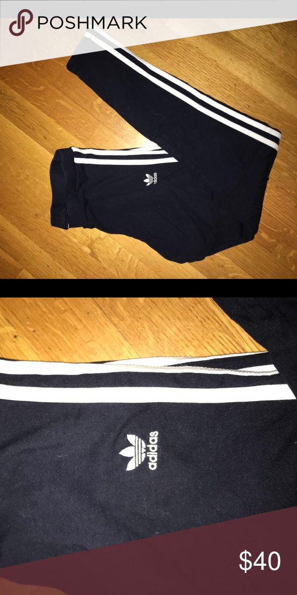2a36ea599c46b Adidas Leggings Super trendy navy blue adidas leggings with two stripes  running along the side of