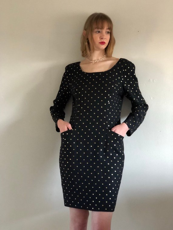 ac92b1feb04dd 80s Ann Taylor gold polkadot dress / black + gold scoop neck long sleeve shift  dress / black gold po