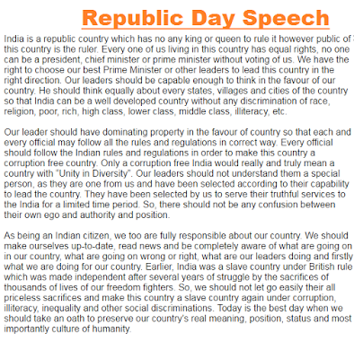 26 January Republic Day Speech in 2020 Republic day