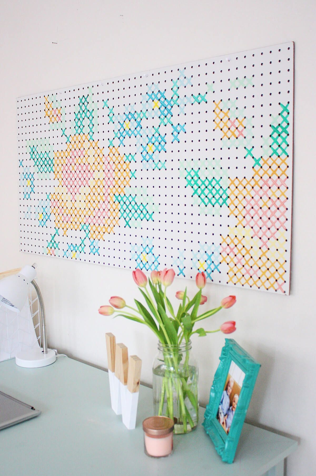 Other Decorative Pegboard Ideas for the Less Artistic #artistic #Decorative #Ideas #Pegboard