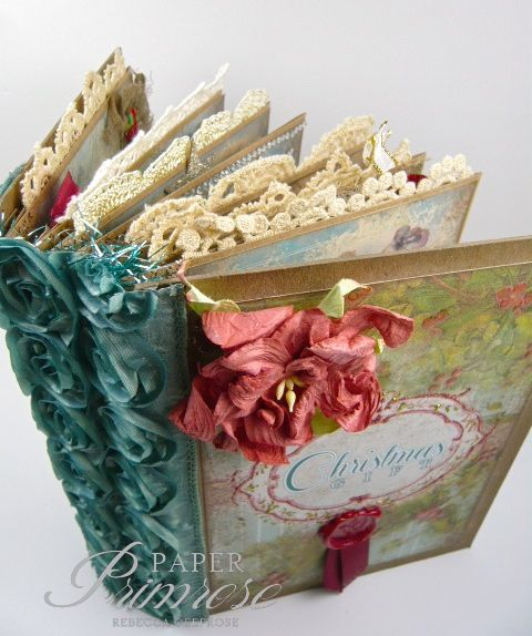 A Christmas mini album, Tsunami Rose Digital papers, paper hinge construction, vintage, shabby chic style, antiqued colors
